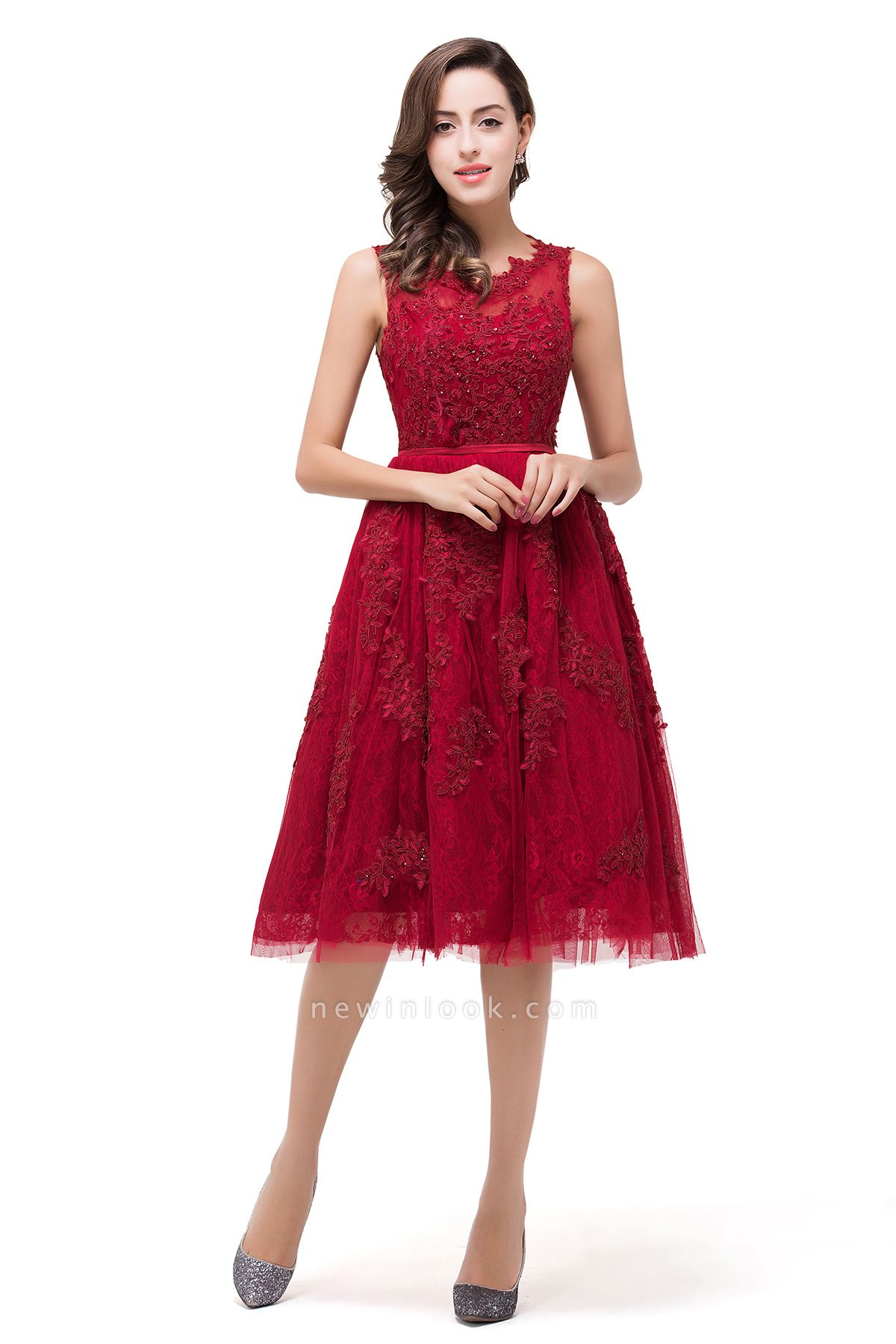 DANA | Quinceanera Knee-Length Red Lace Tull Dama Dresses with sequins
