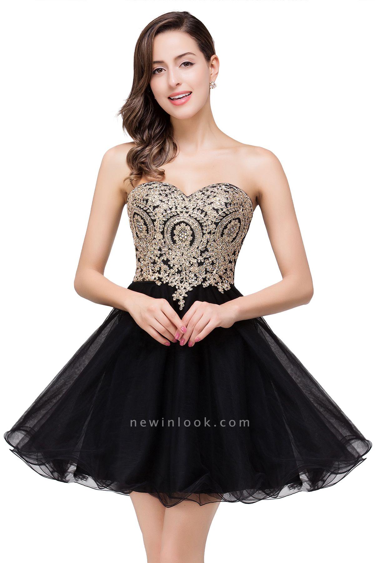 Una línea de encaje vestidos de baile | con apliques cari_o corto