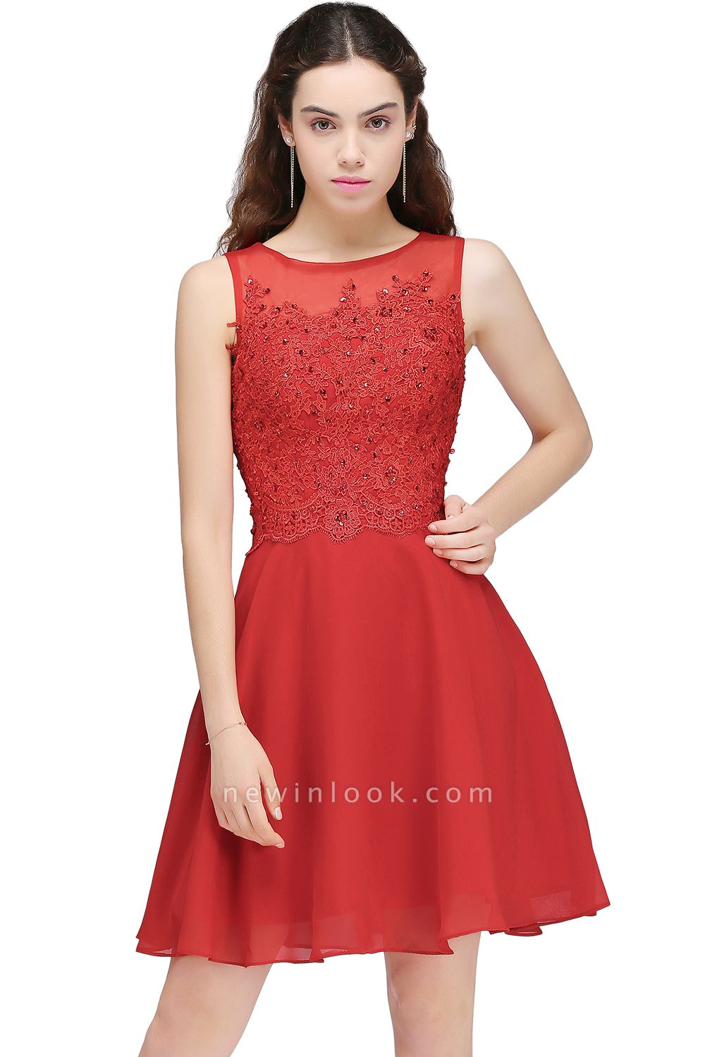 CASEY | Quinceanera Short Chiffon Red Dama Dresses with Lace Appliques