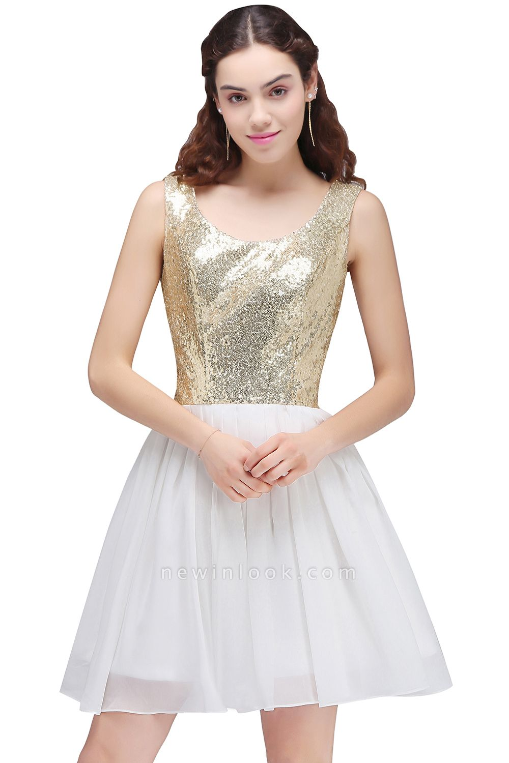CAROLYN | Quinceanera Scoop Short Sequins White Cute Dama Dresses with Sequins