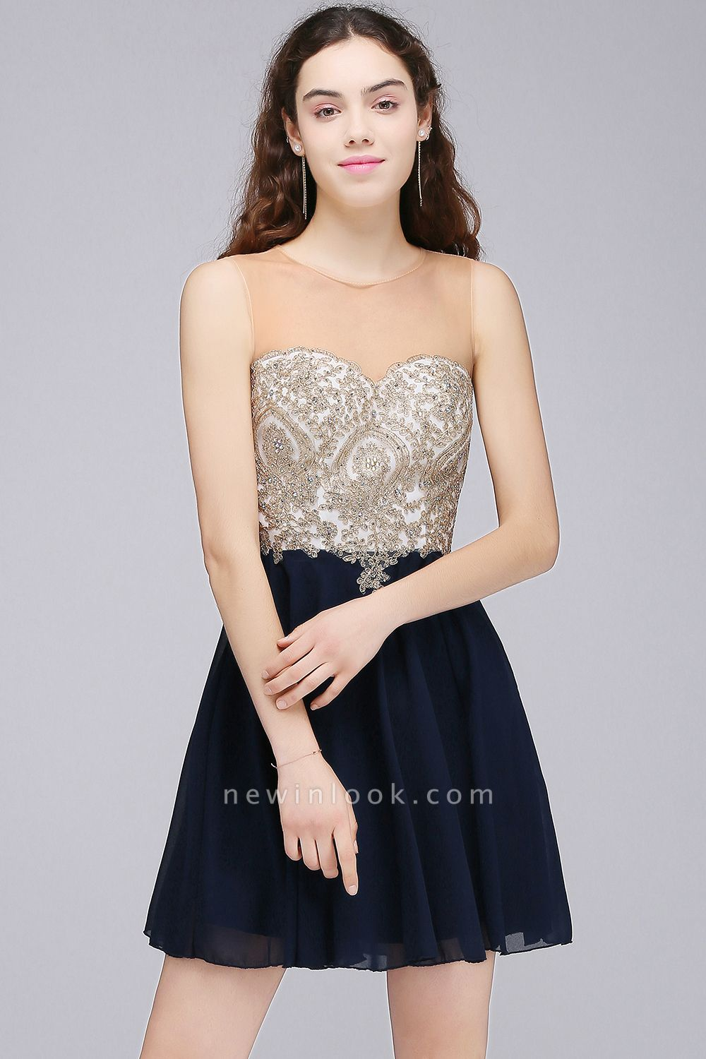 ALIANNA | Sheath Jewel Chiffon Short 15 Quince Dresses With Applique