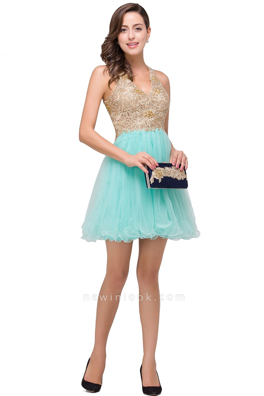 Short Tulle Quinceanera V-Neck Appliques Sleeveless Dama Dresses