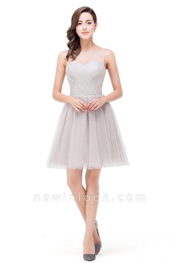 HARLOW | Elegant Quinceanera Crew Mini Silver Dama Dresses With Ruffle