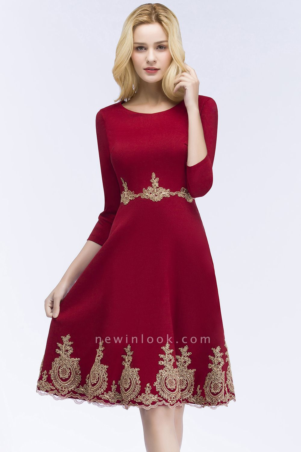 ROSANNA | Quinceanera Knee Length Burgundy Appliques Dama Dresses with Sleeves