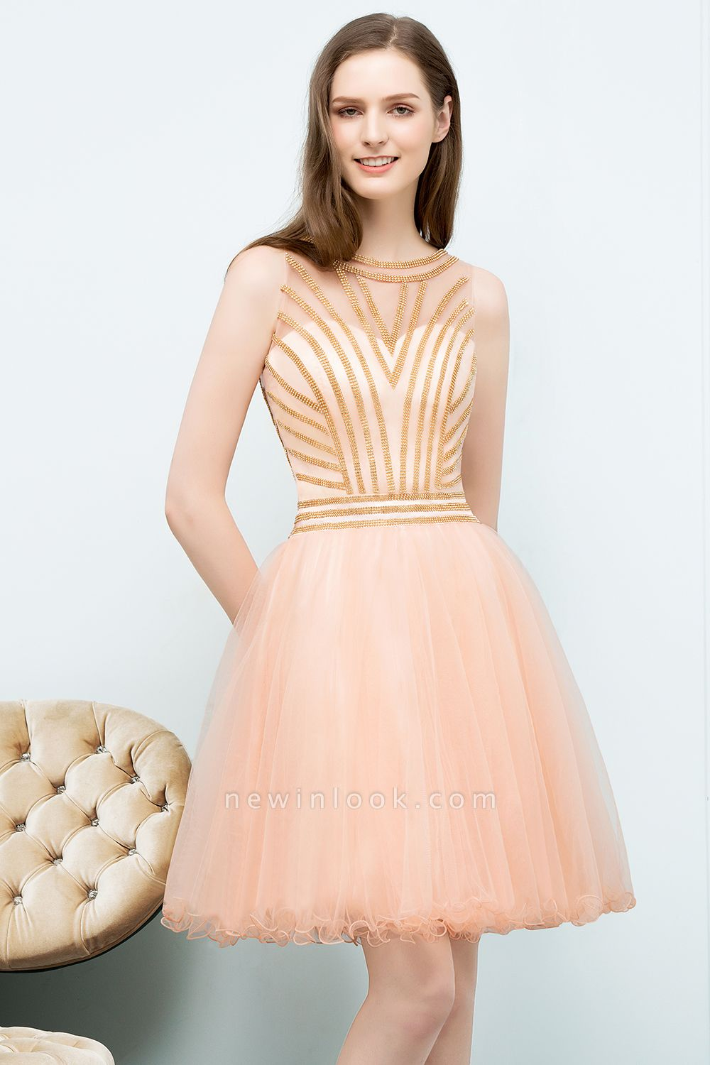 SNOW | Quinceanera Short Sleeveless Beading Tulle Dama Dresses