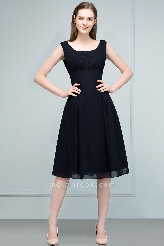 SUZANNE | Quinceanera Tea Length Sleeveless Ruffled Chiffon Dama Dresses