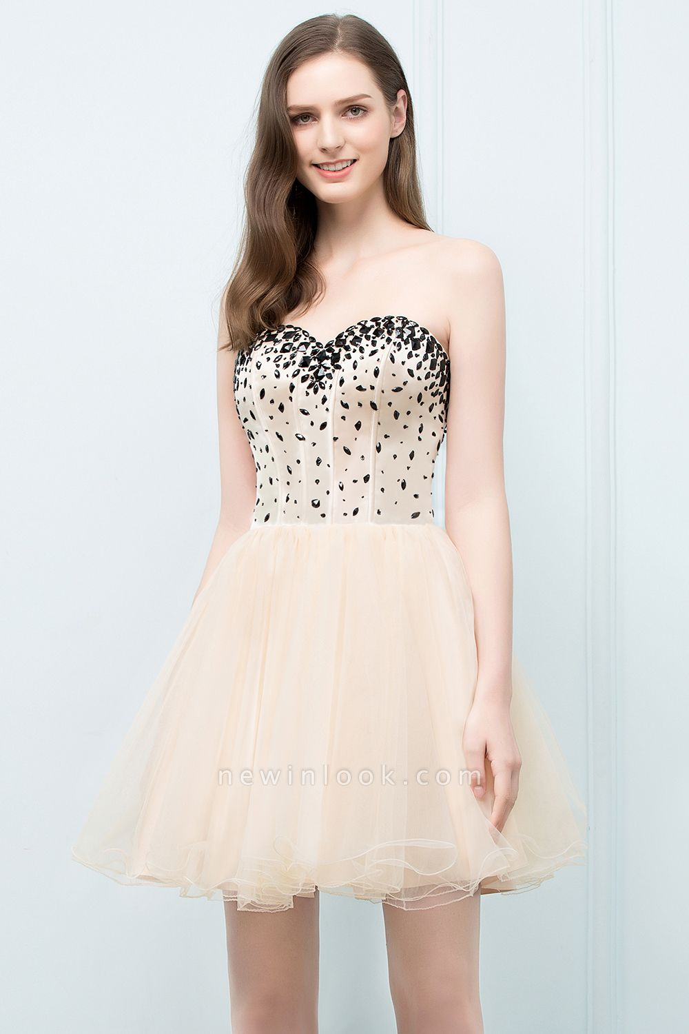 SIBYL | Quinceanera Short Sweetheart Strapless Tulle Dama Dresses with Crystals