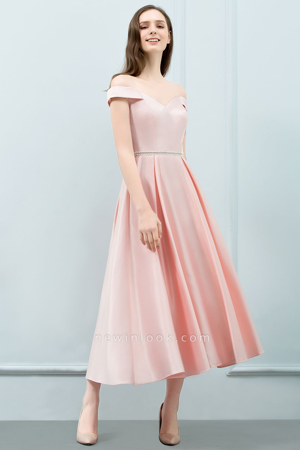 SHEILA | Quinceanera Off-shoulder Tea Length Pink Dama Dresses with Sash