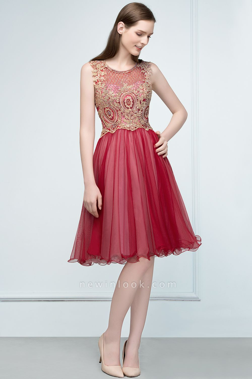 RITA | Quinceanera Sleeveless Knee Length Appliques Tulle Dama Dresses with Beads