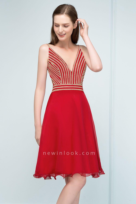 SUZAN | Quinceanera V-neck Spaghetti Short Beading Tulle Dama Dresses