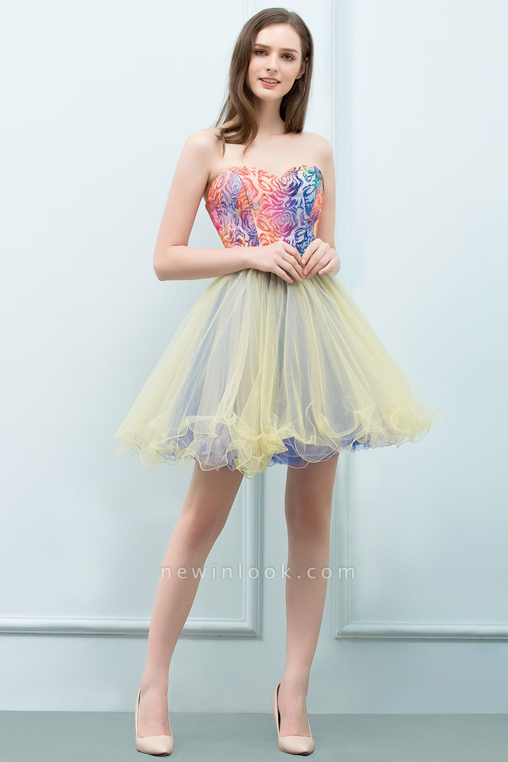 SHONA | Quinceanera Strapless Sweetheart Short Sequined Tulle Dama Dresses
