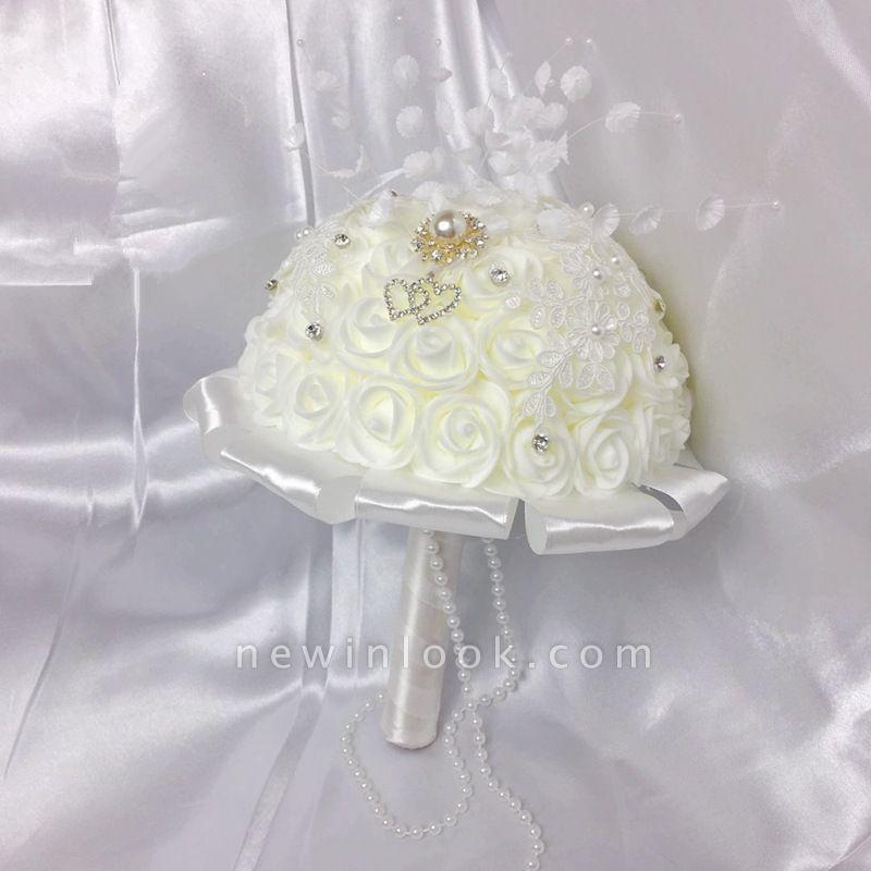 Ramo rosa marfil de seda para bodas con cristales