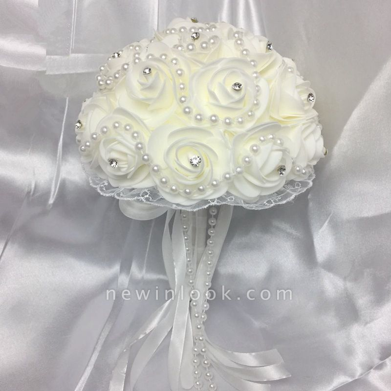 Ivory Rose Bouqet for Quinceanera with Beading Strings