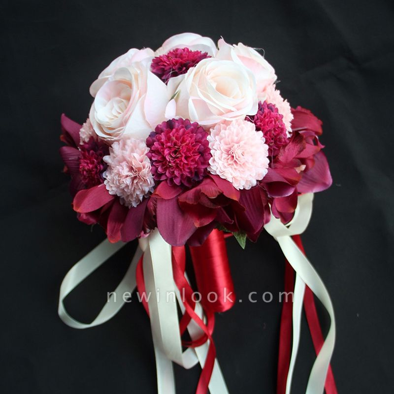 Ramo de novia de seda y orquídeas artificiales Rose de seda