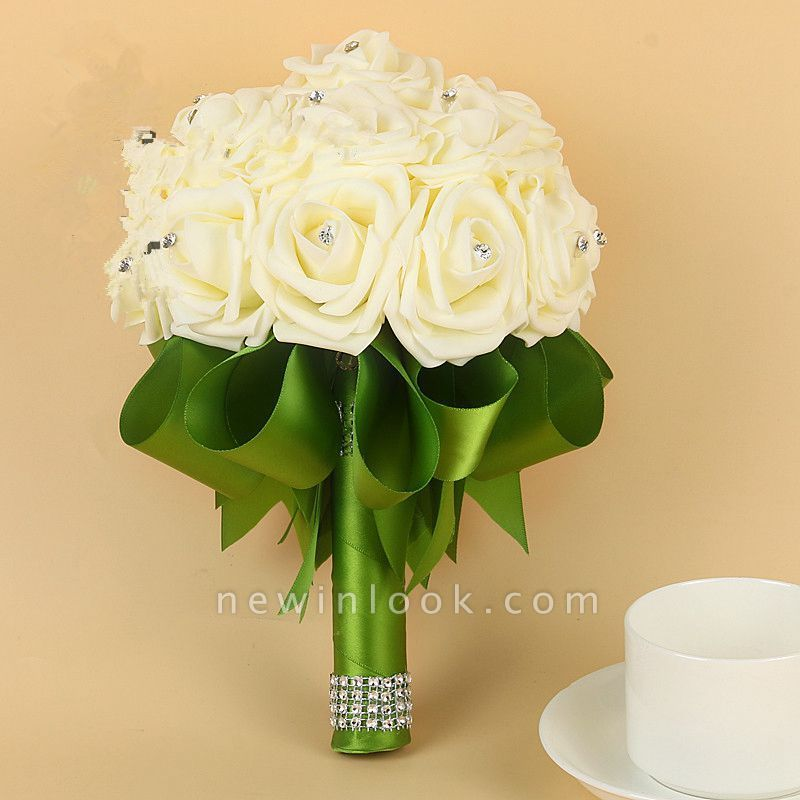 Ivory Silk Beading Rose Quinceanera Bouquet with Rainbow Ribbons