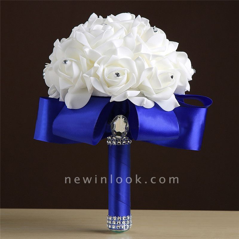 White Silk Rose Crystal Beading Bouquet in Rainbow Handles