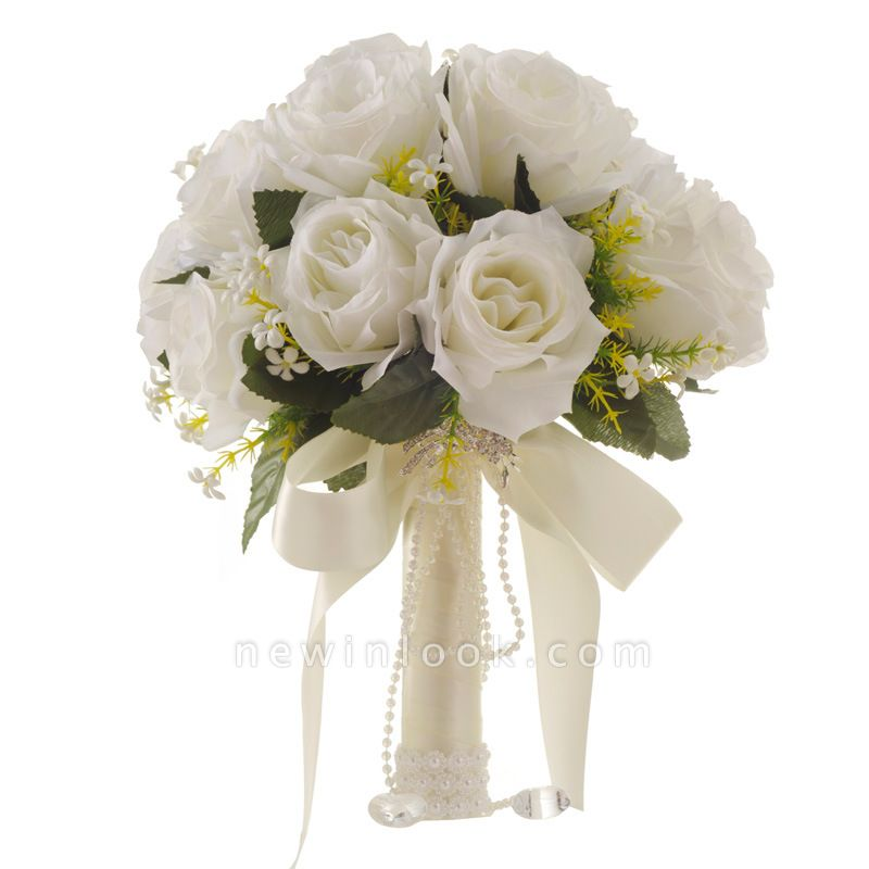 White Rose Artificial Quinceanera Bouquet with Handle