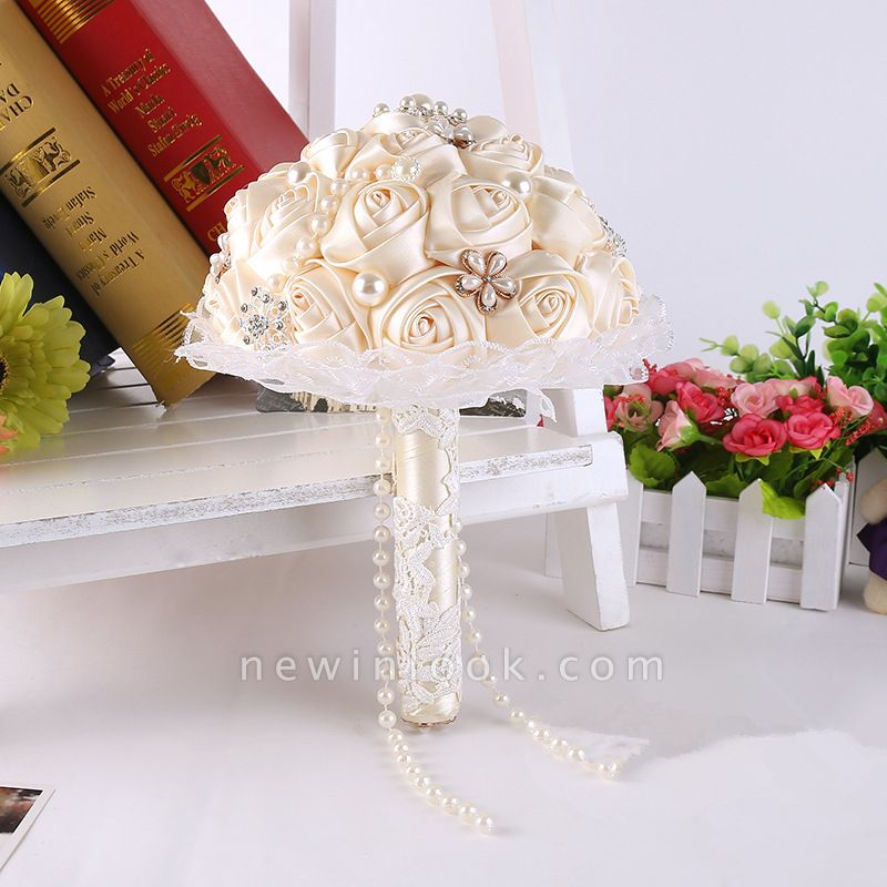 Luxury Pearls Lace Silk Rose Bouquet for Quinceanera