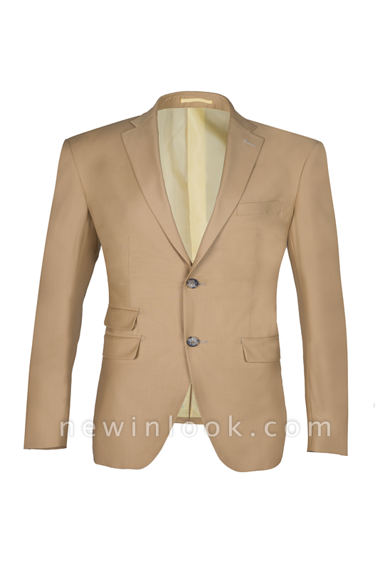 High Quality Two Button Nude Color Back Vent Peak Lapel Chambelanes
