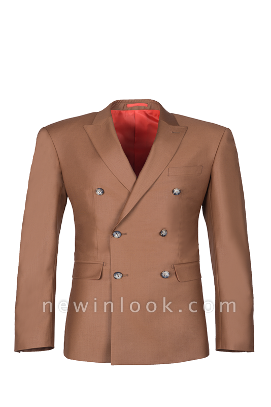 Brown Peak Lapel Customize Double Breasted Chambelanes  Popular Chambelanes Tuxedos