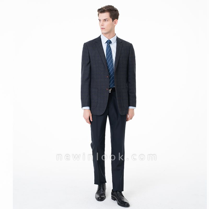 Slim Fit Peak Lapel Two-piece Suit Lattice Casual Suits | Chambelanes tuxedos for my quince