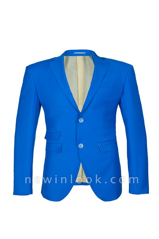 Ocean Blue Casual Suit Peak Lapel Single Breasted Chambelanes