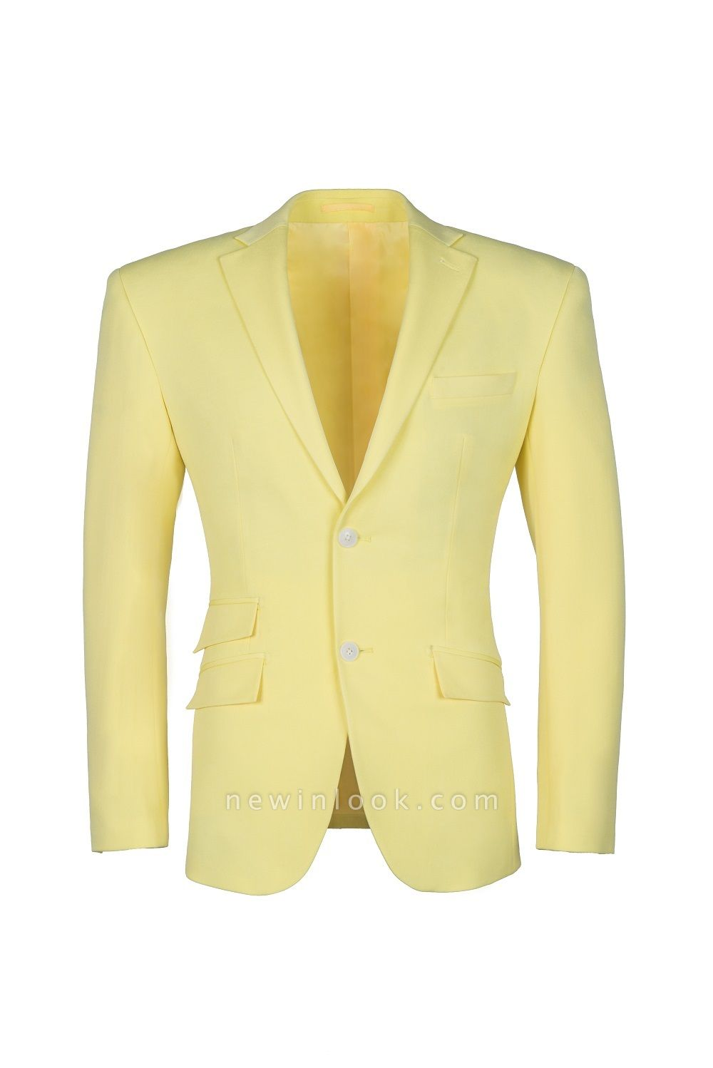High Quality Peak Lapel Chambelanes  Slim Fit Daffodil Single Breasted