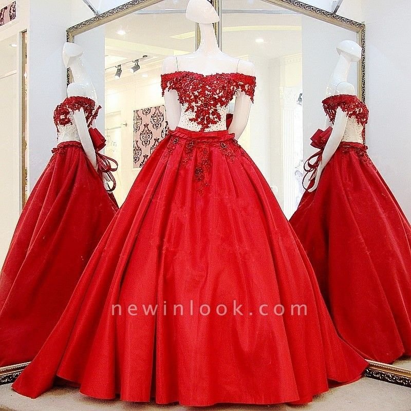 Chic Off-the-Shoulder Appliques Beading Quinceanera Dress