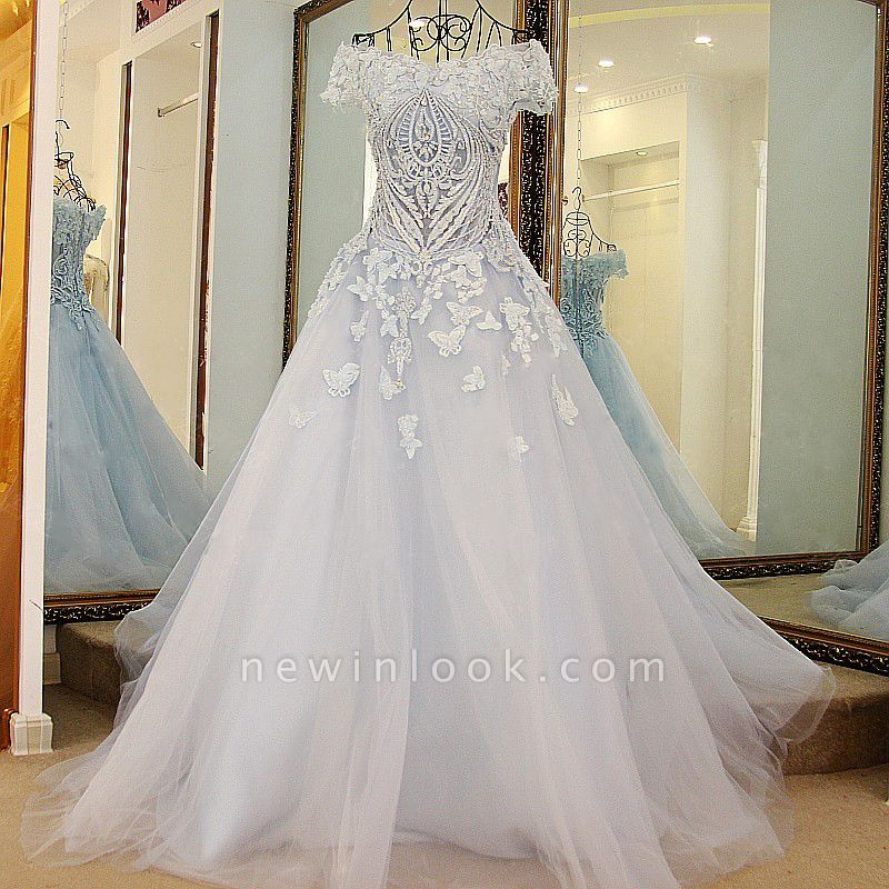 Chic Tulle Off-the-Shoulder Appliques Quinceanera Dress