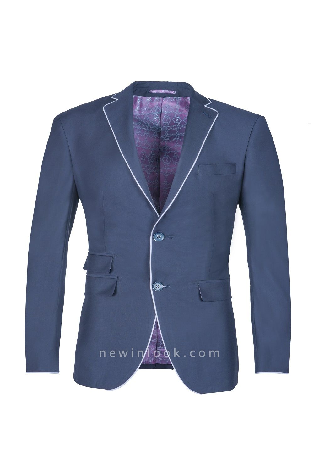 Popular Stylish Design Ink Blue Peak Lapel Two Button Chambelanes