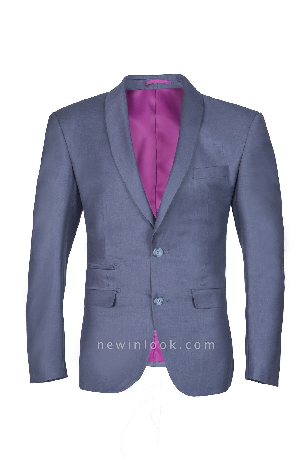 Shawl Lapel Two Button Back Vent Light Grey Single Breasted Casual Suit
