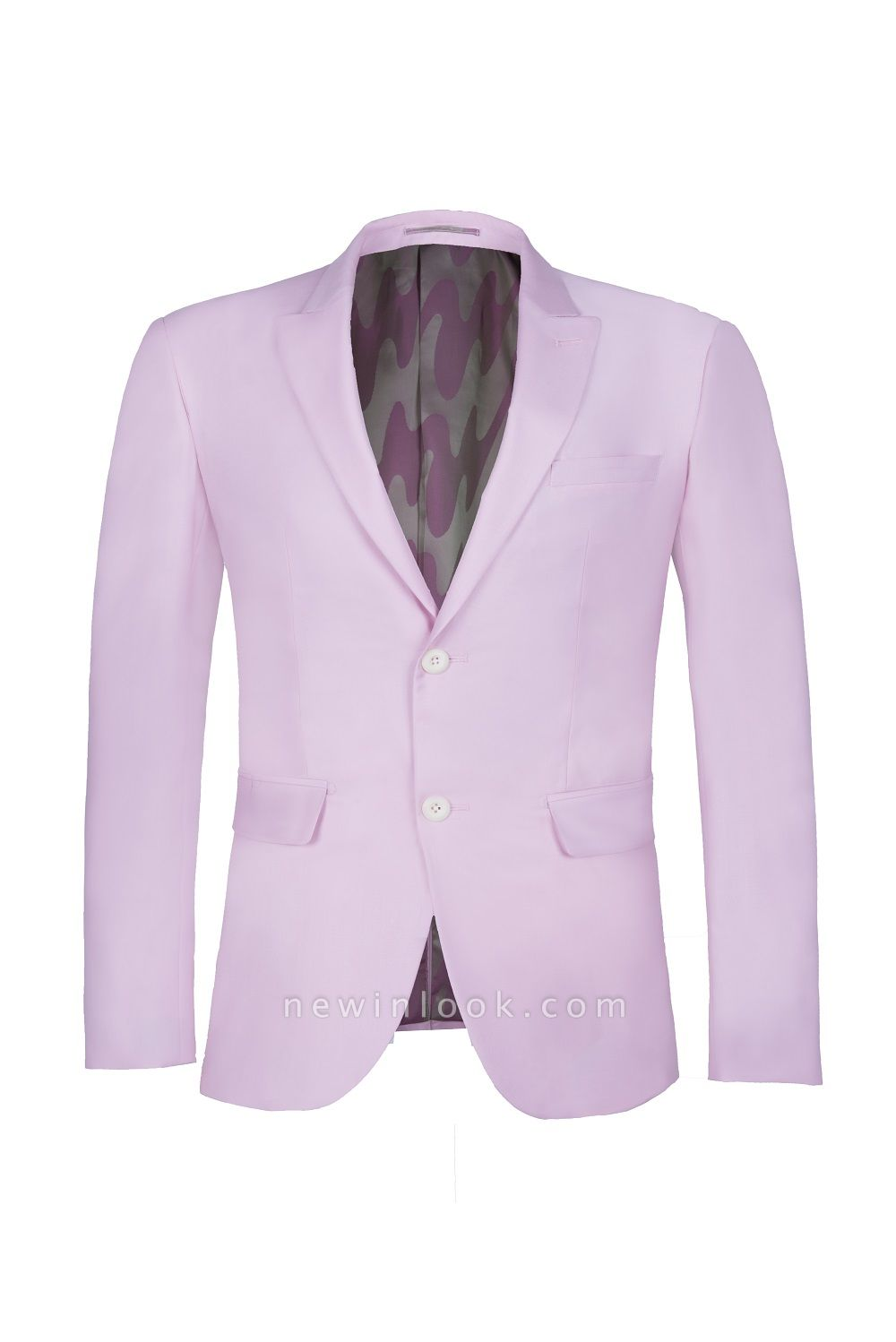 Latest Design Candy Pink Two Button Back Vent Peak Lapel Chambelanes