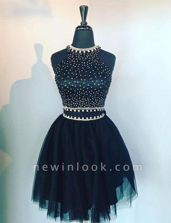 Sleeveless Quinceanera Two Piece Jewel Beading Tulle Short Sweet 16 Dama Dress