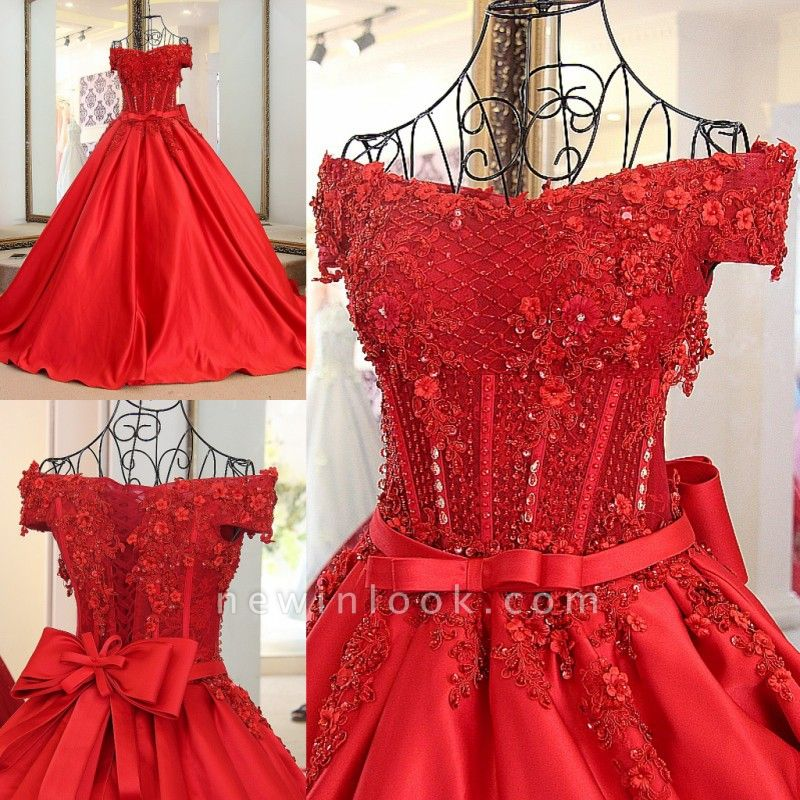 Off-the-shoulder Crystal Beading Ribbon Sash Quinceanera Dresses