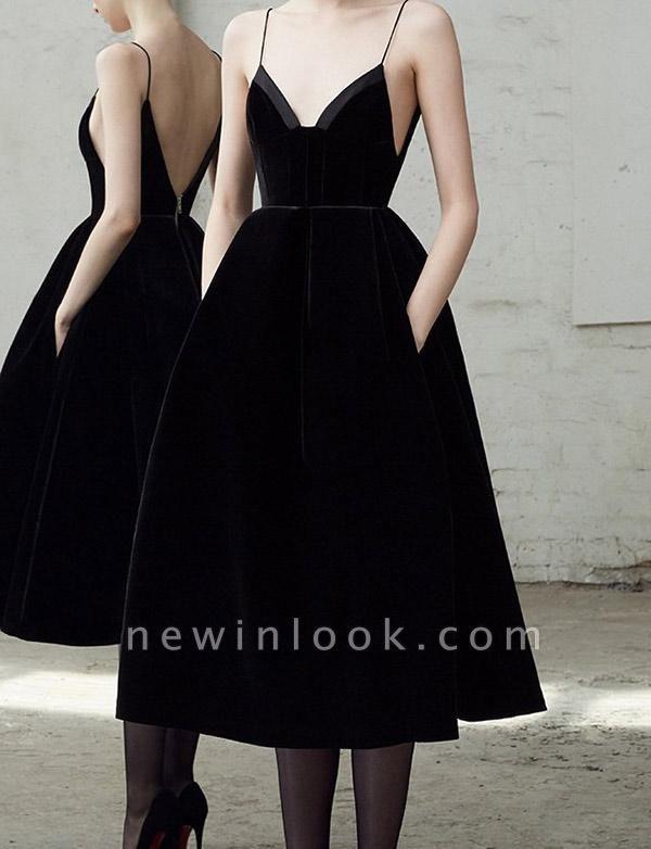 Simple Quinceanera Zipper Spaghetti Straps Tea-Length Dama Dress