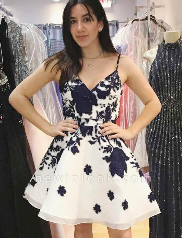Cheap Quinceanera Floral Print Spaghetti Straps Mini Dama Dress