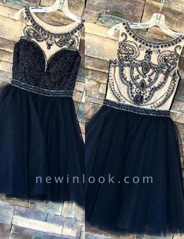 Elegant Beading Sleeveless Jewel Tulle Quinceanera Short Sweet 16 Dama Dress