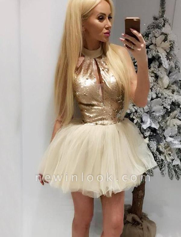 Stylish High Neck Quinceanera Sequins Sleeveless Tulle Short Sweet 16 Dama Dress