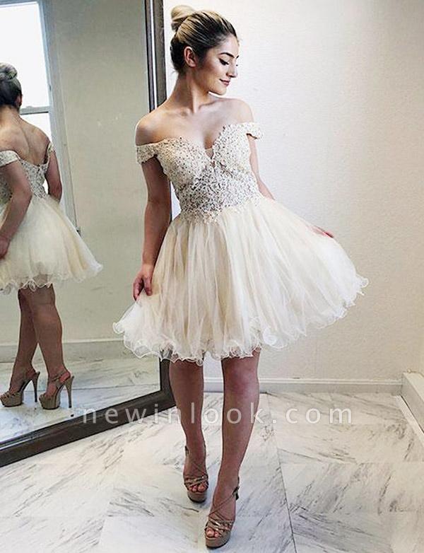 Mini vestido de regreso a casa | con apliques de tul A-Linea de moda
