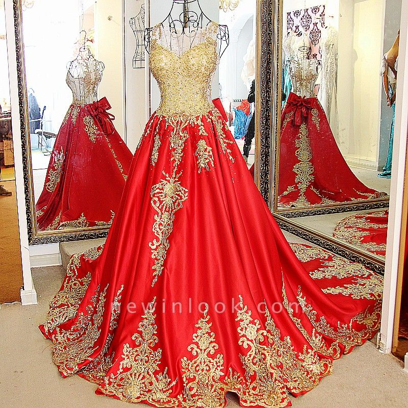 Golden Appliques Red A-line Brush Train Quinceanera Dresses