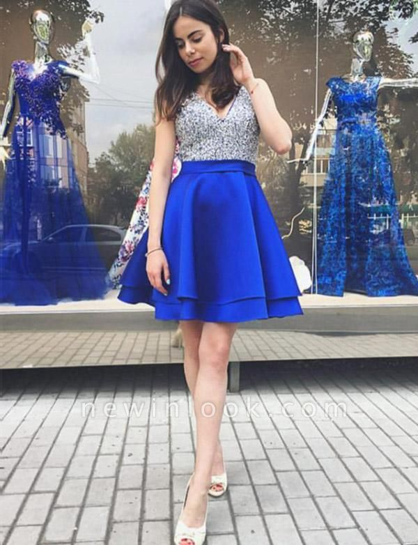 Charming Sleeveless Quinceanera Sequins Sexy V-Neck Mini Dama Dress