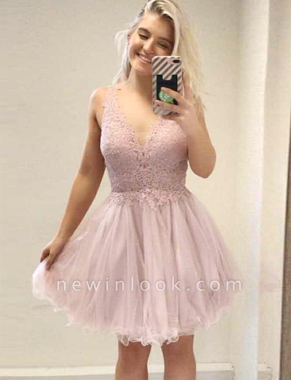 Elegante vestido de regreso a casa sin mangas | una línea de apliques con cuello en V Mini