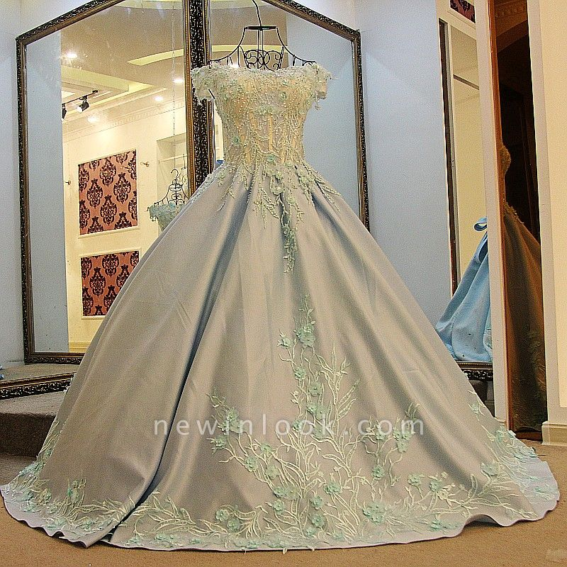 Ball Gown Appliques Beading Flowers Ribbon Bow Quinceanera Dresses