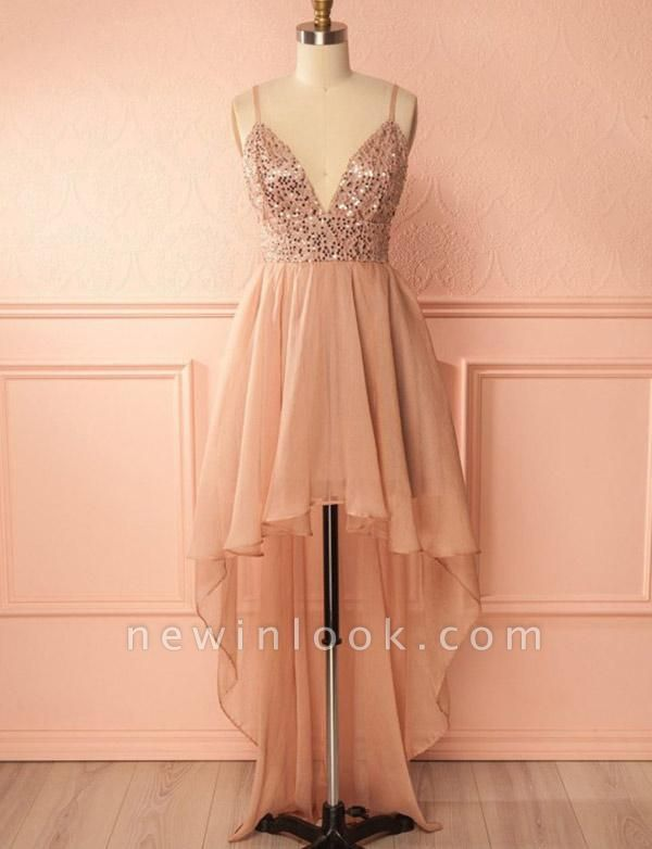 Charming Quinceanera Sequins Spaghetti Straps Sexy V-Neck High Low Sweet 16 Dama Dress