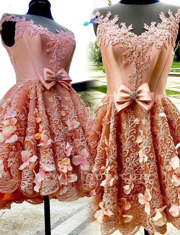 Unique Quinceanera Appliques Jewel Bow Sleeveless Mini Dama Dress