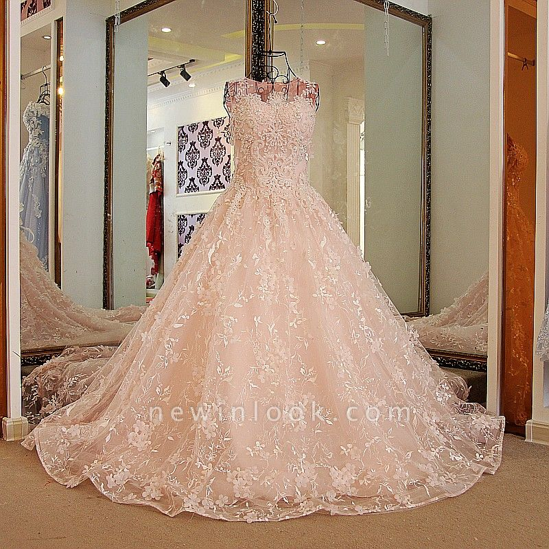 Lace Appliques Floor Length Pink Quinceanera Dresses