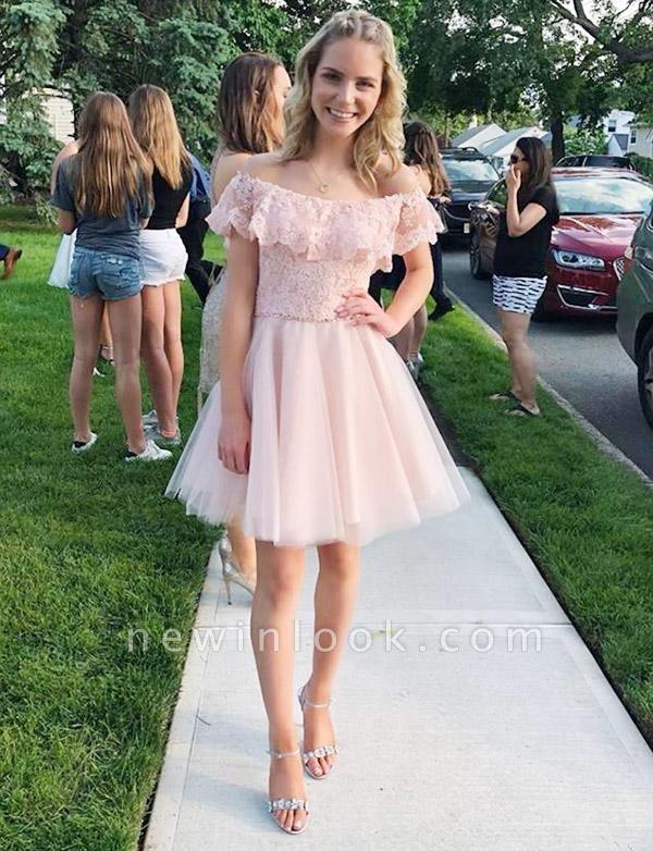 Mini vestido de regreso a casa elegante | de tul con encaje fuera del hombro