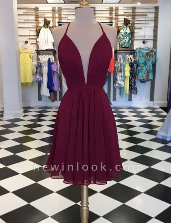 Simple Quinceanera Sexy V-Neck Sleeveless Lace-up Mini Dama Dress