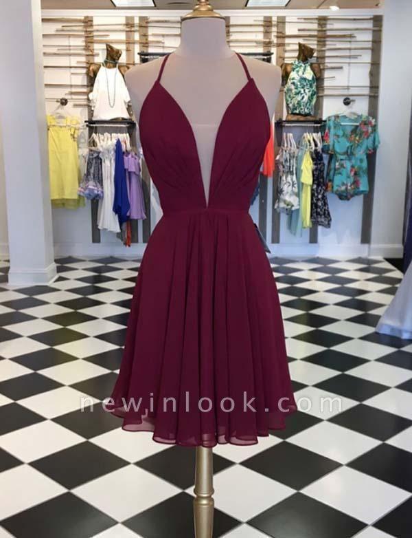 Mini vestido de regreso a casa sin mangas | con cordones y escote en V sencillo