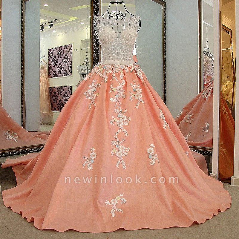 Sleeveless Ball-gown Flower Appliques Crystal Quinceanera Dresses